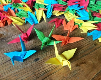 Origami Folded Paper Cranes 9cm X 50 Bright Colour Mix - Origami Birds - Wedding Decoration - Baby Shower - Paper Decorations