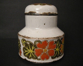 1970's Midwinter Stonehenge Sugar Cannister ~ Nasturtium Pattern ~ British Pottery