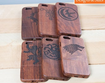 Game Of Thrones iPhone Case, Wooden Phone Case, iPhone 6 Case, iPhone 7 Case, iPhone 8 Case, Stark Phone Case, Custom iPhone Case