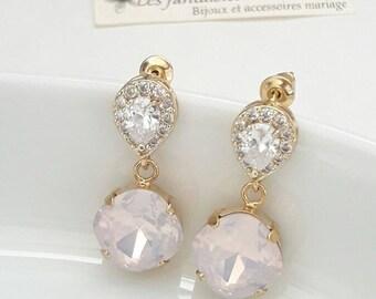 Boucles d'oreilles mariage, clous strass et cristal, bijoux mariage, boucles d'oreilles zircon, boucles d'oreilles cristal, clous d'oreilles