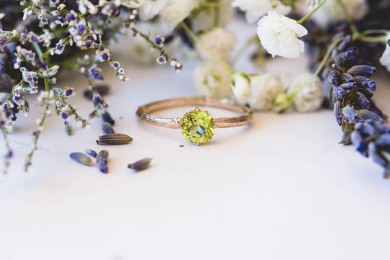 Peridot 14k gold classic cushion engagement ring, solitaire cushion engagement ring, vintage inspired twig engagement ring