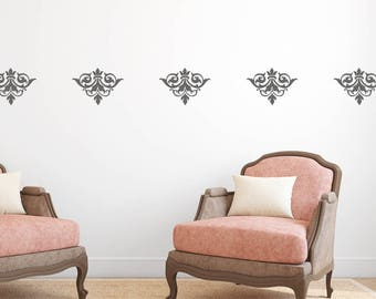 Damask Stickers, Wall Pattern, Set Of 25, Wall Decal, Damask Decals,