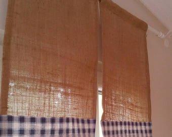 Burlap Curtains - Burlap and Gingham Valance - Rustic Curtains - Country Curtains -Gingham Blinds - Burlap Drapes - Choose Color -  Set of 2