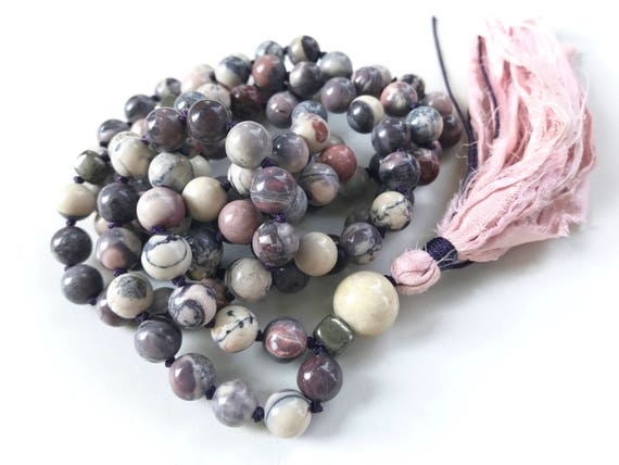 Mala For Calm & Stability, Porcelain Jasper Mala Beads, 108 Bead Mala, Sari Silk Tassel, Hand Knotted Mala, Natural Healing Mala Necklace