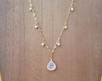 Faceted Rose Quartz Briolette and Tiny Freshwater Pearls Drop Necklace 18K Gold Plated over 925 Sterling Silver / Gold Vermeil  Necklace