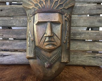 Indian Chief Wall Pocket Vase from Japan, Ceramic Indian Head Bust