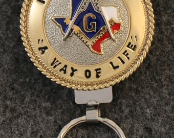 "IN STOCK UNLESS Personalized Custom handcrafted Masonic key chain, ""Free Masonry"" across top, ""A Way Of Life"" across bottom"