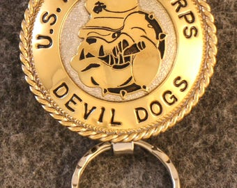 IN STOCK - UNLESS personalized - Metal Key Chain - Metal  U.S. Marine Key Chain - Devil Dogs - A unique gift for your Marine!