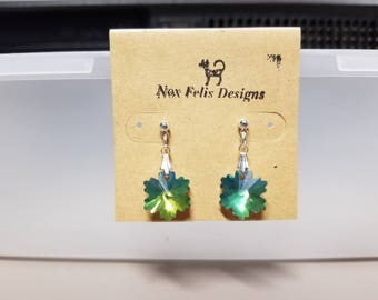 Silver and Blue-Green Glass Snowflake Earrings
