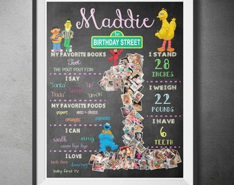 Birthday Poster - Sesame Street Inspired with Photo Memories