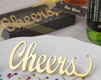 Cheers Gold Metal Bottle Opener - Wedding Bridal Shower Party Favor 20-72 Qty  FC4248