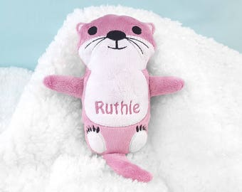 Toddler Easter Gifts, Personalized Otter Plush, Sea Otter Stuffed Animal, Handmade Toy, Personalized Toddler Gift, Pink Nursery Decor