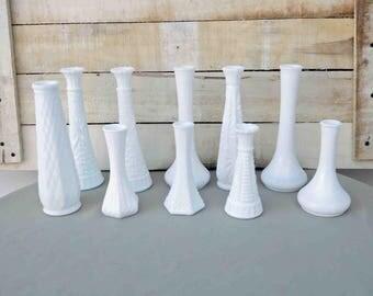 Vintage Milk Glass Vases, 10 Pieces Collection, Milk Glass, White Bud Vases, Weddings