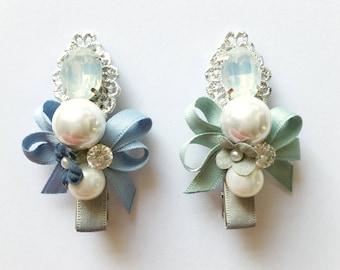 Regal Bow Clips - Blue Bow - Green Bow - Rhinestone Clips - Handmade - Ribbon bow clips - Pearl hair clips - Alligator clips