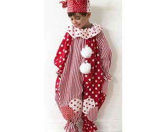 Ready to Ship: Toddler 4T/5T Jester or Clown Costume, Red and White