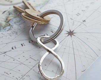 Handmade Infinity Symbol Argentium Silver Key Fob  Wife gift  Husband 25th anniversary present