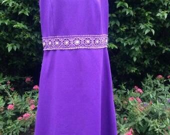 Vintage 1960s Purple Crimplene A-Line Dress. Psychedelic! Mod!