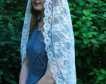 Evintage Veils~ Soft Ivory Extra Long Veil Vintage Inspired Lace Chapel Veil Scarf Mantilla Wrap Shawl