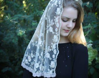 Evintage Veils~Ivory & Gold Embroidered  Traditional Vintage Inspired Long D Shape Mantilla Chapel Veil