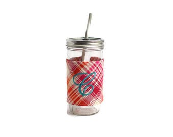 Personalized Harvest Plaid Mason Jar Tumbler, Monogrammed Tumbler, Personalized Tumbler, Mason Jar Harvest Plaid