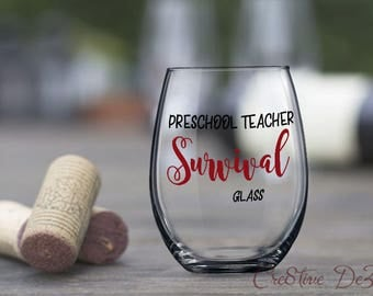 Funny Teaching Glass, Preschool Teacher Survival Glass, Preschool Student Gift, Teacher Gift Idea, Teaching Student Birthday Gift