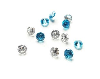 Winter Stardust Crystal Mix -12-Pack-Blue & Clear Cubic Zirconia-2.8mm
