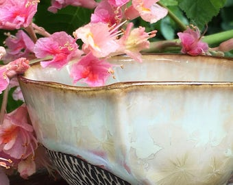 Small Tea Bowl or Sipping Mug in Pink and White Crystalline Glaze, Hand Built Porcelain Pottery Makes a Unique Gift. 2.5 in tall, Food Safe