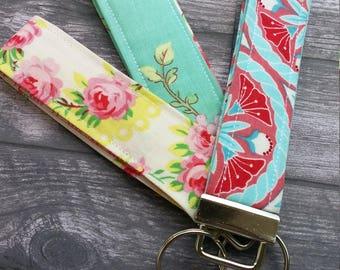 Aqua and pink floral wrislet, wristlet key chain, key fob, fabric key chain, key chain, key chain, wrist key holder