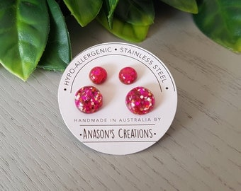 Set of Two Pink Glitter Resin Stud Earrings- Hypo-Allergenic Surgical Steel