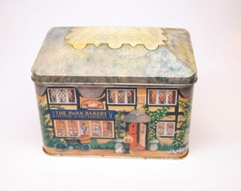 Vintage Sliver Crane Company house shaped tin, Swan Bakery tin, collectible tin, good condition, with lid, tin collection