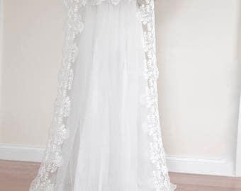 Wedding Veil with Blusher, Detachable Blusher Veil, Blusher Detachable Veil, Two tiers Veil, Removable Blusher, Cathedral Veil, Wedding Veil