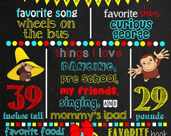 Curious George Birthday Chalkboard Poster DIGITAL FILE