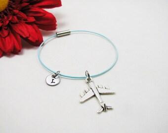 Airplane Bracelet - Silver Airplane Bangle - Initial Charm - Plane Jewelry - Initial Bracelet - Custom Bracelet - Flight Attendant Bangle