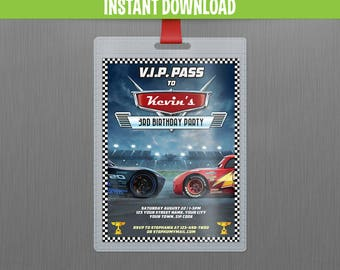 Disney Cars 3 Lightning McQueen and Jackson Storm VIP Pass Birthday Invitation - Instant Download and Edit with Adobe Reader