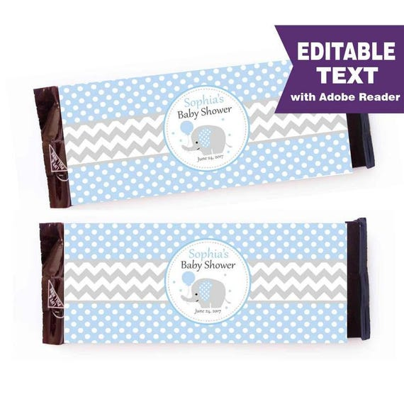 Elephant Chocolate Bar Wrappers, Baby Blue Boy Editable Wrappers, DIY, Printable labels, DIY, Instant download -D965 BBEB1