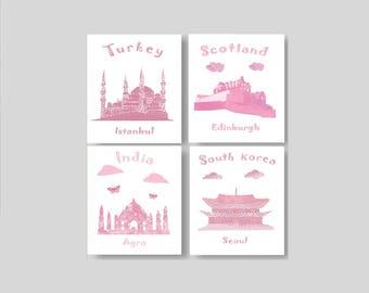 8,Baby art print for nursery decor,pink nursery,travel nursery,Turkey,Scotland,india,South Korea,tableau chambre enfant