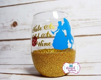 Tale as Old as Wine Glass, Tale As Old As Time Wine Glass, Beauty and the Beast Glitter Wine Glass, Belle Wine Glass, Princess Belle Glass