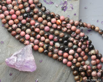 8mm Rhodonite Beads, Natural Rhodonite Beads, rhodonite matrix beads pink gemstone beads full strand 15.3""