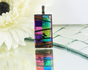 Fused Glass Pendant-Elegant Dichroic Glass Necklace-Purple, Pink and Rainbow Rectangular Shaped Pendant-Dichroic Glass Jewelry. JBT559