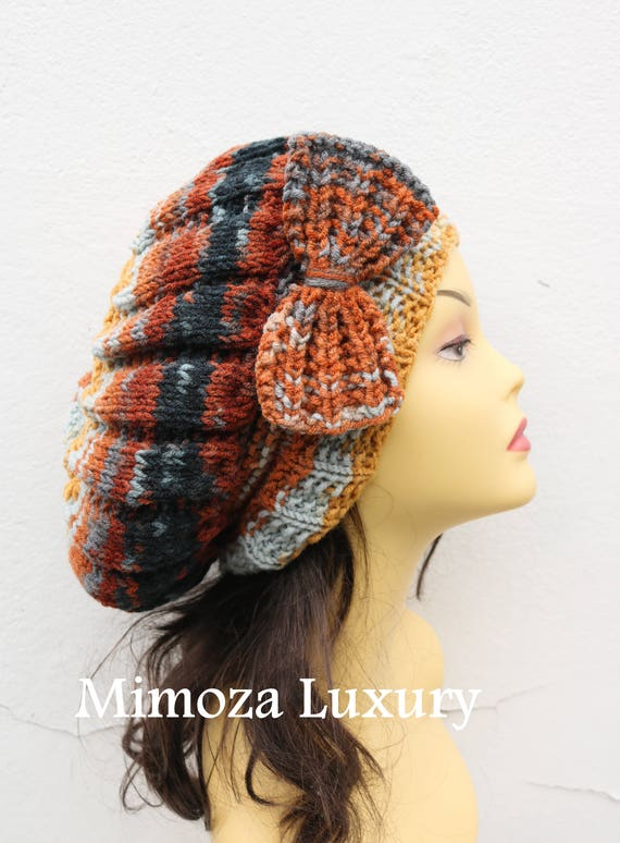 Brick Fox Orange/Brown Woman Hand Knitted Hat with Bow, Brick Beret hat with bow, Fox knit hat, slouchy knit women's hat with bow, winter