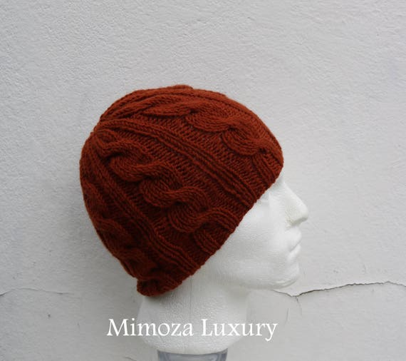 Rust Brown Men's Beanie hat, Hand Knitted Hat in rust brown beanie hat, knitted men's, women's beanie hat, rusty winter beanie hat, ski hat