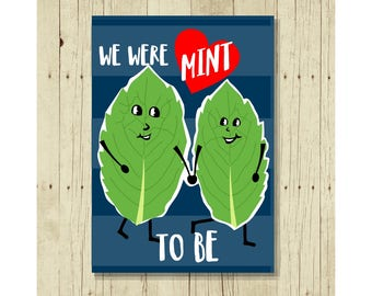 Love Magnet, Funny, Punny, Wedding, Anniversary, Refrigerator, We Were Mint To Be, Gift for Girlfriend, Gifts Under 10, Small Gift, Gift