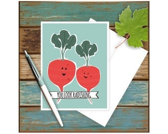 You Look Radishing Card, Funny Anniversary, Veggie Puns, Romantic, Punny Art, Love Card, Radish, Vegetables, Play on Words, For Her