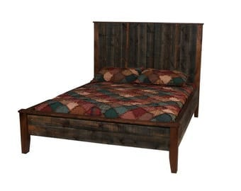 Walnut Platform Bed, Reclaimed Walnut Wood Bed, Modern Rustic Bed