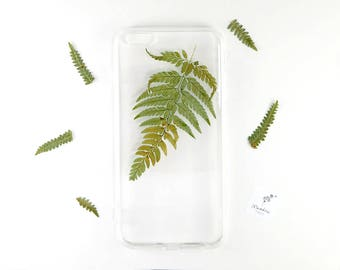 iPhone 6 Plus botanical phone case with a real pressed fern