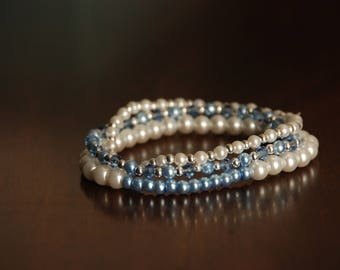 Pearly White and Aqua Bracelet Bunch