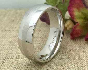 8mm Titanium Ring, Free Engraving , Personalized Custom Engraved Titanium Wedding Ring, Anniversary Ring, Promise Ring, Father's Day Gift