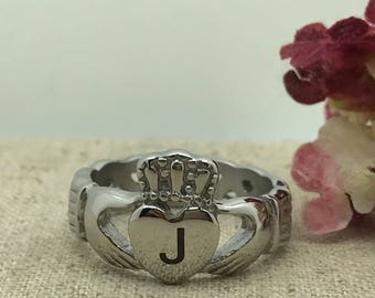 Claddagh Ring, Men's Stainless Steel Celtic Claddagh Ring, Personalized Traditional Irish Claddagh Ring,Celtic Claddagh Ring