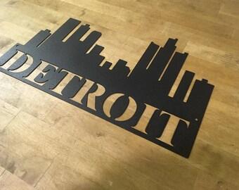 Detroit City Skyline Sign Wall Decor