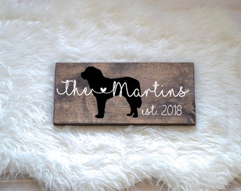 Last Name Wood Sign with Saint Bernard Silhouette, Wedding Signs, Last Name, Wedding Gift, Dog Wedding Gift, Anniversary, Entryway